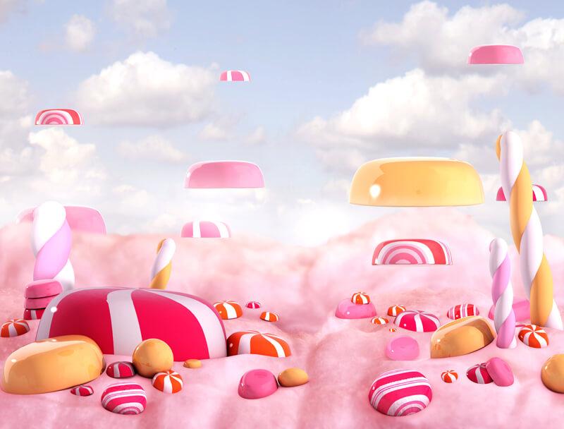 Das Bild zeigt eine zuckersüße Candy-Landschaft